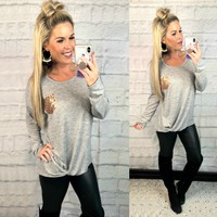 Sequin Pocket Knot Top