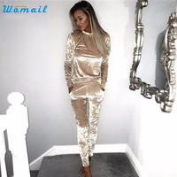 Sexy Rompers Womens Jumpsuit Sexy Full Length Long Sleeve Velvet Jumpsuit Amazing 2017 New Arrival