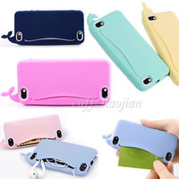 New Cute Big Mouth Whale Rubber Card Holder Soft Case Cover for iPhone 4 4S 5 5G