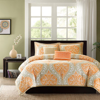 Twin/Twin XL 4-Piece Comforter Set with Orange White Damask Print