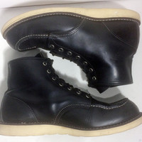 Red Wing® 8130 Classic Moc Black Chrome Leather Work boots Men's Size 12 D