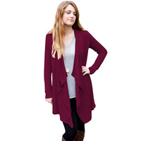 C51 Women Full Sleeve Asymmetric Hem Jersey Cotton Open Front Cardigan Irregular Trench Outfits For Autumn Fall Spring New 2016
