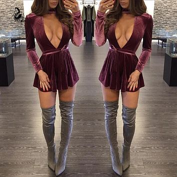 Deep v neck long sleeve with belt loose short  jumpsuit romper Autumn back zipper elegant cub party women jumpsuit 2016 Casual f