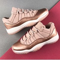 Air Jordan 11 PRM AJ11 Women Casual Sneakers Sport Basketball Shoes Rose Golden