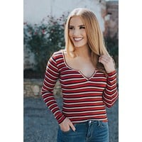 Savannah Striped Knit Top, Red