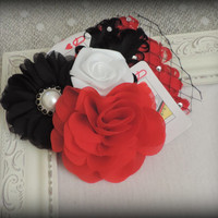 Queen of Hearts Adult fascinator , queen of hearts hair clip, red black white, steampunk accessories,