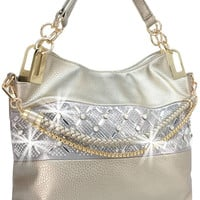 * Rhinestone and Mirror Accent Accessorized Handbag In Pewter  M
