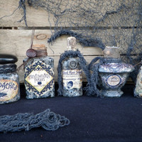 HALLOWEEN POTION BOTTLES set of 5 vintage & new 4 to 5 inch glass apothecary witch's cupboard Halloween decor theater props renaissance
