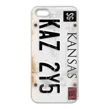 "CW TV Play Supernatural License Plate ""KANSAS KAZ 2Y5""  Background Case Cover for iPhone 5/5S- Personalized Hard Cell Phone Back Protective Case Shell-Perfect as gift = 1927825476"