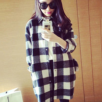 Black and White Plaid Long Cuff Sleeve Full Buttoned Shirt Dress