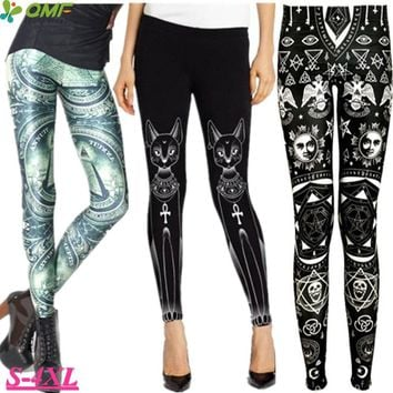 Green Eye Of Providence Fitness Leggings Egyptian Cat Bastet Running Tights Autumn Plus Size Women Stretchy Pencil Jeggings Pant