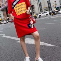 """Moschino"" Fashion Casual Cute Cartoon Bear Letter Print Loose Short Sleeve T-shirt Mini Dress"