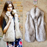 Sexy Women Faux Fur Vest Sleeveless Coat Long Hair Jacket Wastcoat Overcoat BF D_L = 1712877956