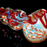 4 Ball Long Color Changing Spoon Pipe with Deep Crimson Red and Orange Latticino Colors - American Made Glass Spoon Bowl