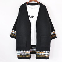 National Striped Long Sleeve Loose Cardigan Knit Outerwear