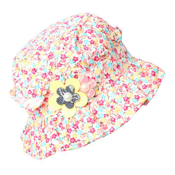 Flower Ruffle Bucket Beach Hat