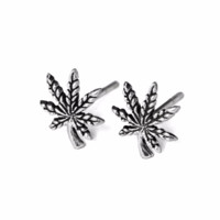 Silver Cannabis Leaf Stud Earrings, Solid 925 Sterling Silver Marijuana Studs