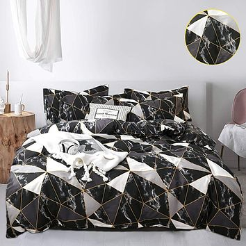 Jumeey Black Duvet Cover Queen Geometric Bedding Sets Full White Silver Grey Marble Gothic Full Size Bed Set 100% Cotton Men Women Modern Aesthetic Abstract Gold Plaid Bedding Set(NOT Comforter) Full/Queen(90''*90''-duvet cover) Black White Grey Gold