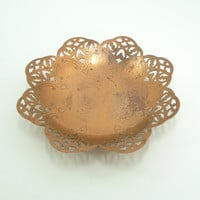 Vintage copper trinket dish ring dish business card holder - Scallop-edge scroll-edge open-work edge with etching along the rim