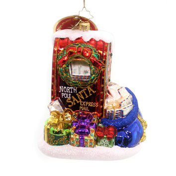 Christopher Radko LETTERS TO SANTA Glass Mailbox Christmas 1018637