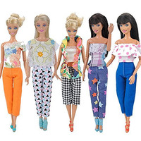 E-TING® 5 Set Doll Clothes Outfit 5 Tops 5 Trousers Pants for Barbie Doll Picture Style