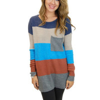 Block Long Sweater With Pocket