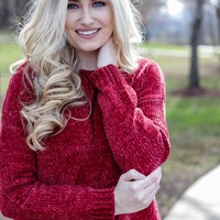 Cropped Chenille Sweater, Red Garnet