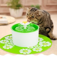 1.6L Automatic Cat Feeding Watering Supplies Pet Fountain Electric Drinking Water For Cat Dispenser Bowl 3 Color Flower 30 H
