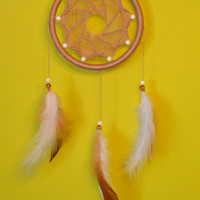 Beige Elegant Dreamcatcher Mandala with Coral beads, wall hanging