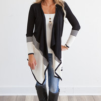 Stripe Colorblock Waterfall Cardigan - Black/Off White
