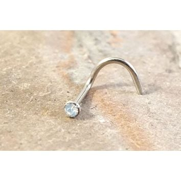 White Opalite Opal Nose Ring Stud