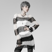 Punk Broken Pullover Steampunk Round Collar Casual Long Striped Sweater