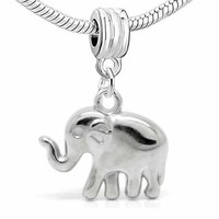 """ Elephant "" 3D Dangle Charm Bead For Snake Chain Charm Bracelet"