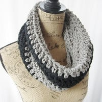SALE RTS Black and Gray Handmade Crochet Knit Infinity Scarf Cowl Necklace Accessory OOAK