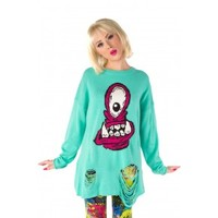 Eye Hungry Sweater ❤ Turquoise