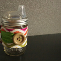 Mason Jar Sippy Cup + Drink Sleeve - Glass Sippy Cup - Chevron Drink Sleeve