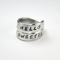 Hello Sweetie Ring, Doctor Who Inspired Aluminum Twist Wrap Ring, Dr. Who The Doctor Ring, Hand Stamped Fan Ring