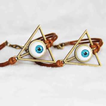 The Deathly Hallows bracelet anklet,evil eye jewelry,bronze alloy wax cord summer trending simple fashion friendship graduation gifts