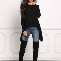 Black Pointed Pullover Sweater Top