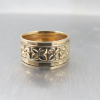 Victorian Wedding Band Ring, Cigar Band, Forget Me Not Flowers H. Wexel Co. Size 7.50 10K Gold Filled Rose Gold Wedding Band
