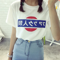 2016 Women's T-shirt Summer Fashion Ulzzang Harajuku T-shirt Antihuman Trafficking In Japanese Basic Bottoming Free Shipping