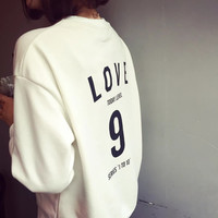 Korean Round-neck Alphabet Print Long Sleeve Women's Fashion Hoodies [9296765636]