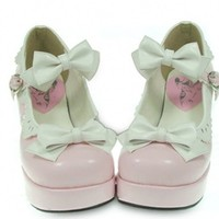 pink white High heels Platform Bows PU Sweet Lolita Shoes