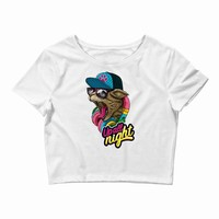 up all night cat Crop Top