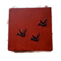 Red canvas painting, 3D art, black bird painting, mixed media, small painting, 5x5, acrylic artwork, crimson painting,