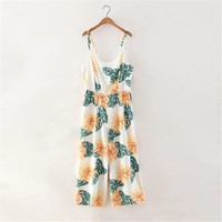 Women's Fashion Spaghetti Strap Summer Backless Print Jumpsuit [4905586564]