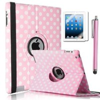 ULAK Polka Dot 360 Degree Rotating Magnetic Synthetic Leather stand Case Smart Cover with Wake/sleep Function For Apple iPad 2, iPad 3(the new iPad) , iPad 4th Generation (Pink+White Polka Dot)