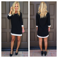 Sookie Crochet Trimmed Shift Dress - BLACK