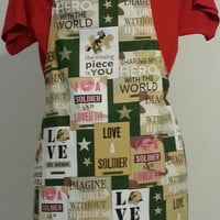 My Hero Lined Full Adult Apron Love a Soldier and more Printed on Fabric Army