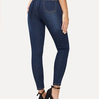 Lace Up Back Dark Wash Jeans